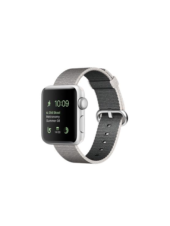 Apple Watch Series 2, caja de aluminio en plata y correa de nailon trenzado en color perla