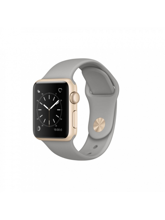 Apple Watch Series 1, 38 mm, caja de aluminio en oro y correa deportiva gris cemento