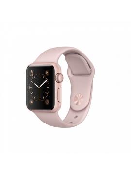 Apple Watch Series 2, 38 mm, caja de aluminio en oro rosa  y correa deportiva rosa arena