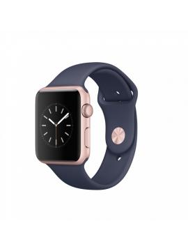 Apple Watch Series 2, 42 mm, caja de aluminio en oro rosa y correa deportiva azul noche