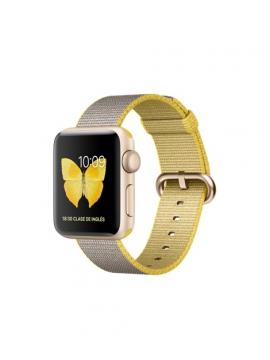 Apple Watch Series 2, 38mm, caja de aluminio en oro y correa de nailon trenzado amarillo/gris claro