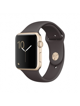Apple Watch Series 2, 42 mm, caja de aluminio en oro y correa deportiva cacao