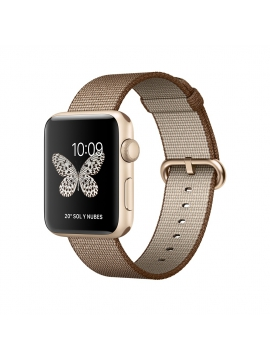 Apple Watch Series 2, 42 mm, caja de aluminio en oro y correa de nailon trenzado café tostado/caramelo