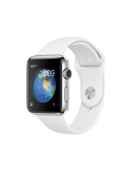 Apple Watch Series 2, caja de acero inoxidable y correa deportiva blanca