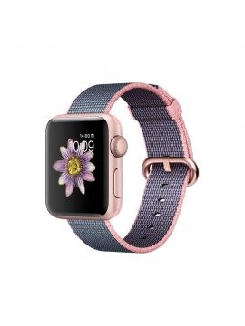 Apple Watch Series 2, 38mm, caja de aluminio en oro rosa y correa de nailon trenzado rosa pálido/azul noche