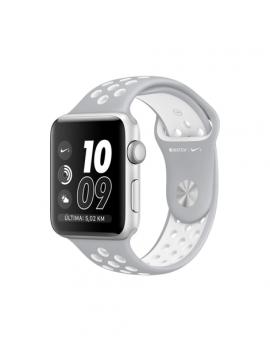 Apple Watch Nike+, caja de aluminio en plata y correa plata/blanca deportiva