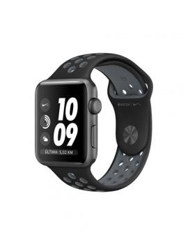 Apple Watch Nike+, caja de aluminio en gris espacial y correa Nike Sport negra/gris azulado