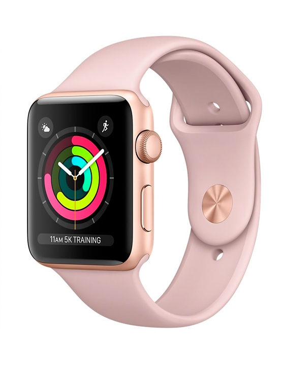 Apple Watch Series 3, Caja Aluminio rosa y correa deportiva rosa arena.