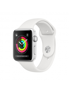 Apple Watch Series 3 Caja Alumnio en plata y correa deportiva blanca