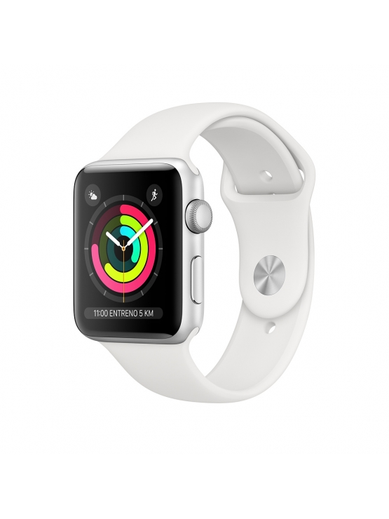 Apple Watch Series 3 Caja Alumnio en plata y correa deportiva blanca