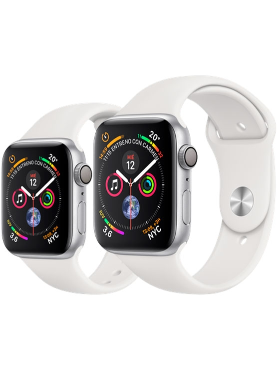 Apple Watch Caja de aluminio en plata y correa deportiva blanca