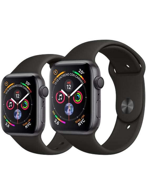 Apple Watch Series 4 GPS Caja de aluminio en gris espacial y correa deportiva negra