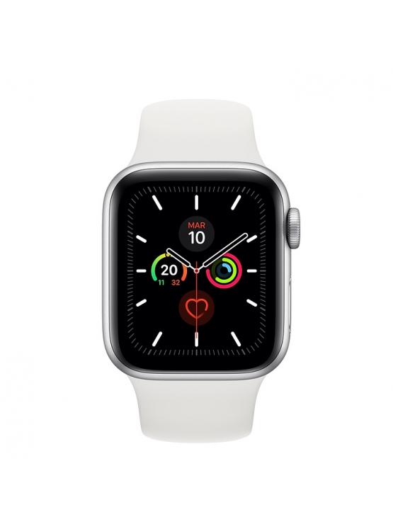 Apple Watch Series 5, Caja de aluminio, correa deportiva blanca