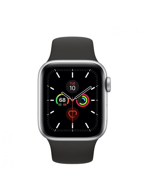 Apple Watch Series 5, Caja de aluminio, correa deportiva negra